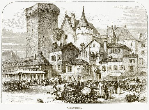 Angouleme. Illustration from Spanish Pictures (Religious Tract Society, c 1875).