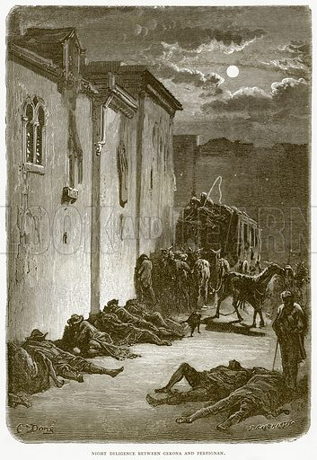 Night Diligence between Gerona and Perpignan. Illustration from Spanish Pictures (Religious Tract Society, c 1875).