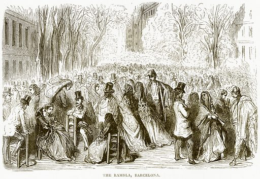 The Rambla, Barcelona. Illustration from Spanish Pictures (Religious Tract Society, c 1875).