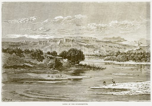 Banks of the Guadalquivir. Illustration from Spanish Pictures (Religious Tract Society, c 1875).