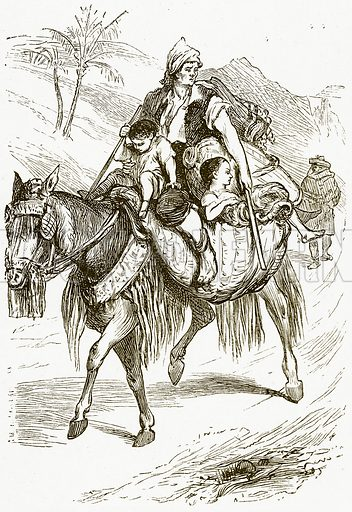 Family travelling on a horse.  Illustration from Spanish Pictures (Religious Tract Society, c 1875).