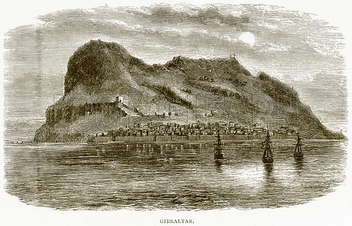 Gibraltar. Illustration from Spanish Pictures (Religious Tract Society, c 1875).