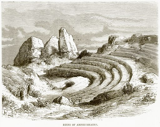 Ruins of Amphitheatre. Illustration from Spanish Pictures (Religious Tract Society, c 1875).