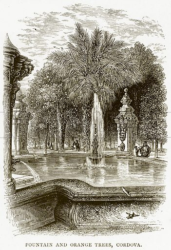 Fountain and Orange Trees, Cordova. Illustration from Spanish Pictures (Religious Tract Society, c 1875).