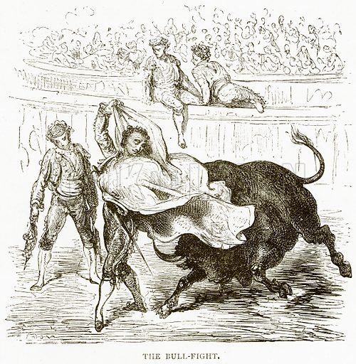 The Bull-Fight. Illustration from Spanish Pictures (Religious Tract Society, c 1875).