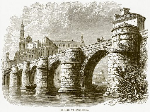 Bridge at Saragossa. Illustration from Spanish Pictures (Religious Tract Society, c 1875).