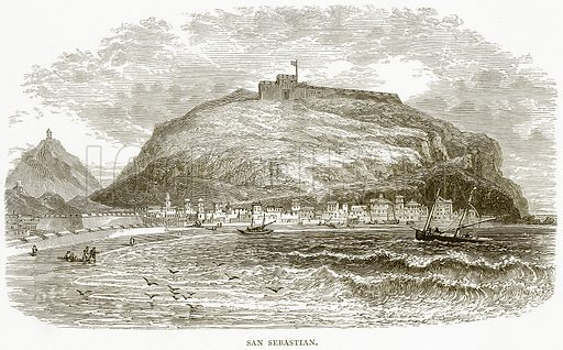 San Sebastian. Illustration from Spanish Pictures (Religious Tract Society, c 1875).