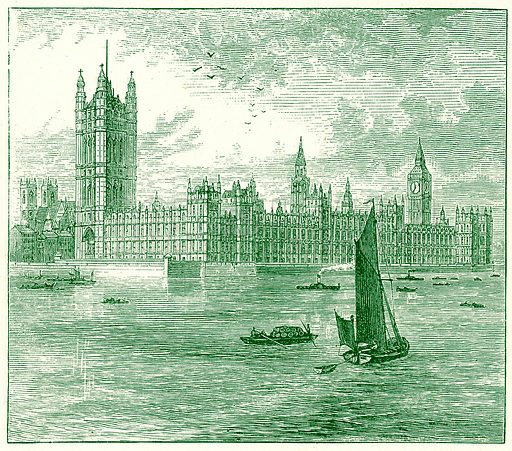The Houses of Parliament and Westminster Abbey. Illustration for The World As It Is by George Chisholm (Blackie, 1885).