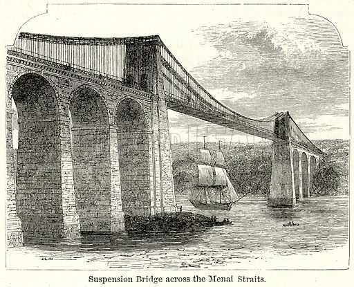 Suspension Bridge across the Menai Straits. Illustration for The World As It Is by George Chisholm (Blackie, 1885).