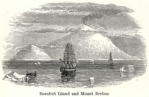 Beaufort Island and Mount Erebus. Illustration for The World As It Is by George Chisholm (Blackie, 1885).