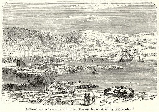 Julianshaab, a Danish Station near the Southern Extremity of Greenland. Illustration for The World As It Is by George Chisholm (Blackie, 1885).