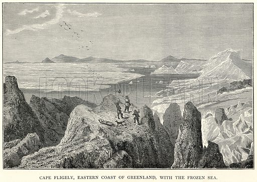 Cape Fligely, Eastern Coast of Greenland, with the Frozen Sea. Illustration for The World As It Is by George Chisholm (Blackie, 1885).