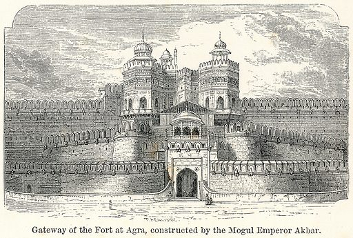 Gateway of the Fort at Agra, constructed by the Mogul Emperor Akbar. Illustration for The World As It Is by George Chisholm (Blackie, 1885).