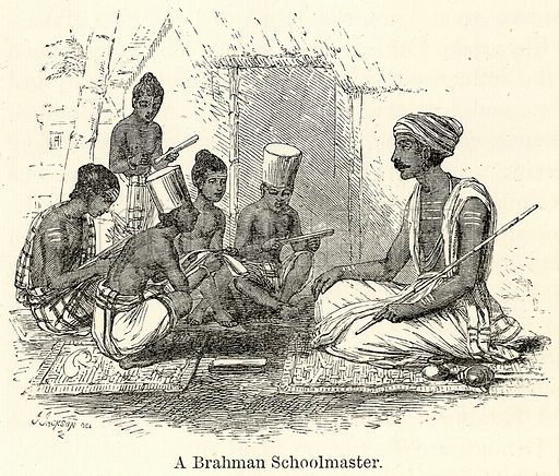 A Brahman Schoolmaster. Illustration for The World As It Is by George Chisholm (Blackie, 1885).