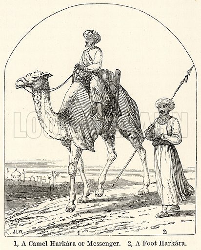 1, A Camel Harkara or Messenger. 2, A Foot Harkara. Illustration for The World As It Is by George Chisholm (Blackie, 1885).