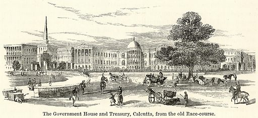 The Government House and Treasury, Calcutta, from the Old Race-Course. Illustration for The World As It Is by George Chisholm (Blackie, 1885).