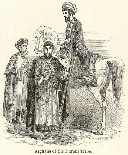 Afghans of the Durani Tribe. Illustration for The World As It Is by George Chisholm (Blackie, 1885).