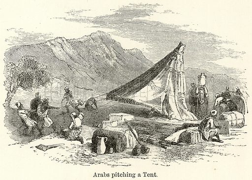 Arabs Pitching a Tent. Illustration for The World As It Is by George Chisholm (Blackie, 1885).