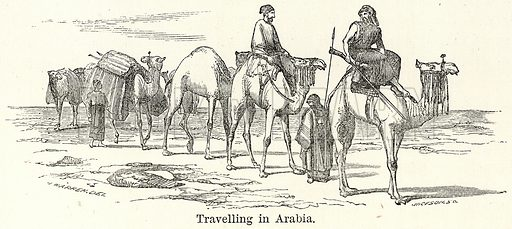 Travelling in Arabia. Illustration for The World As It Is by George Chisholm (Blackie, 1885).