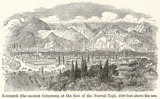 Koutayeh (The Ancient Cotyaeum), at the Foot of the Poorsal Tagh, 4000 feet above the Sea. Illustration for The World As It Is by George Chisholm (Blackie, 1885).