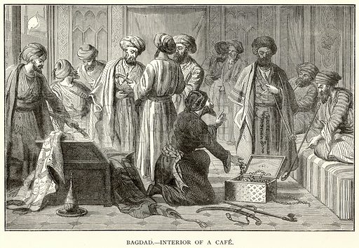 Bagdad.--Interior of a Cafe. Illustration for The World As It Is by George Chisholm (Blackie, 1885).