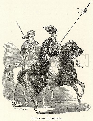 Kurds on Horseback. Illustration for The World As It Is by George Chisholm (Blackie, 1885).