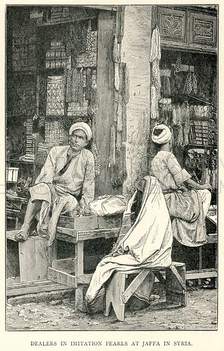 Dealers in Imitation Pearls at Jaffa in Syria. Illustration for The World As It Is by George Chisholm (Blackie, 1885).