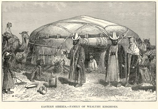 Eastern Siberia. – Family of Wealthy Kirghises. Illustration for The World As It Is by George Chisholm (Blackie, 1885).