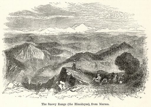The Snowy Range (The Himalayas), from Marma. Illustration for The World As It Is by George Chisholm (Blackie, 1885).