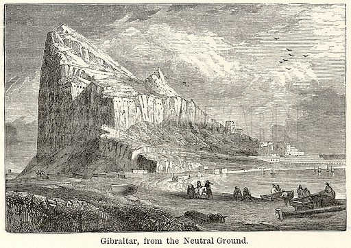 Gibraltar, from the Neutral Ground. Illustration for The World As It Is by George Chisholm (Blackie, 1885).