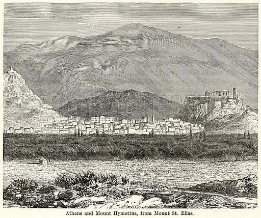 Athens and Mouth Hymettus, from Mouth St. Elias. Illustration for The World As It Is by George Chisholm (Blackie, 1885).