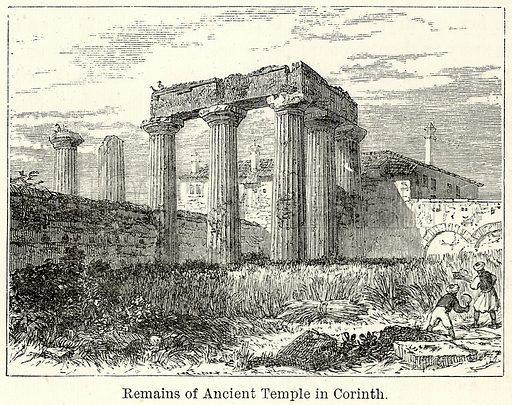 Remains of Ancient Temple in Corinth. Illustration for The World As It Is by George Chisholm (Blackie, 1885).