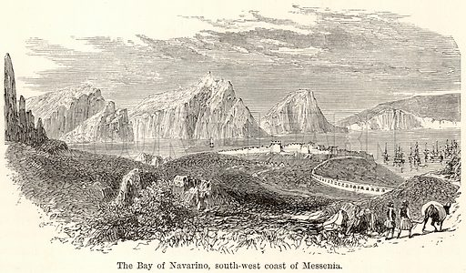 The Bay of Navarino, South-West Coast of Messenia. Illustration for The World As It Is by George Chisholm (Blackie, 1885).