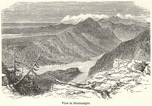 View in Montenegro. Illustration for The World As It Is by George Chisholm (Blackie, 1885).