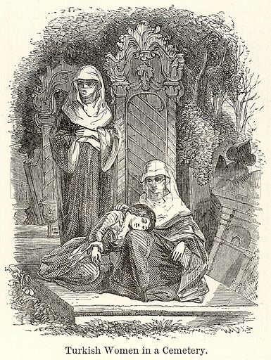 Turkish Women in a Cemetery. Illustration for The World As It Is by George Chisholm (Blackie, 1885).
