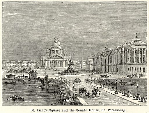 St Isaac's Square and the Senate House, St Petersburg. Illustration for The World As It Is by George Chisholm (Blackie, 1885).