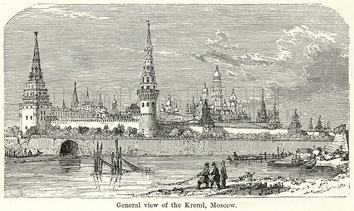 General View of the Kreml, Moscow. Illustration for The World As It Is by George Chisholm (Blackie, 1885).