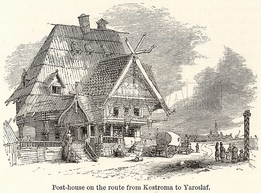 Post-House on the Route from Kostroma to Yaroslaf. Illustration for The World As It Is by George Chisholm (Blackie, 1885).