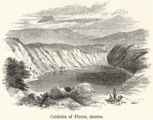 Caldeira of Flores, Azores. Illustration for The World As It Is by George Chisholm (Blackie, 1885).