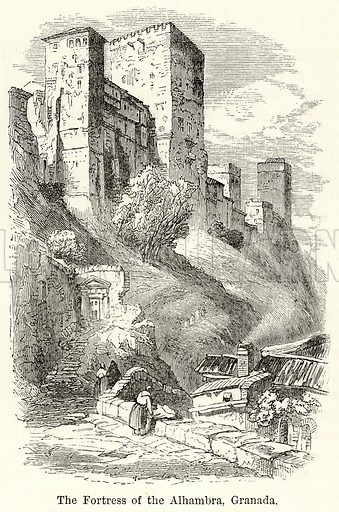 The Fortress of the Alhambra, Granada. Illustration for The World As It Is by George Chisholm (Blackie, 1885).