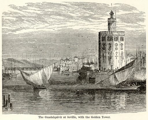 The Guadalquivir at Seville, with the Golden Tower. Illustration for The World As It Is by George Chisholm (Blackie, 1885).