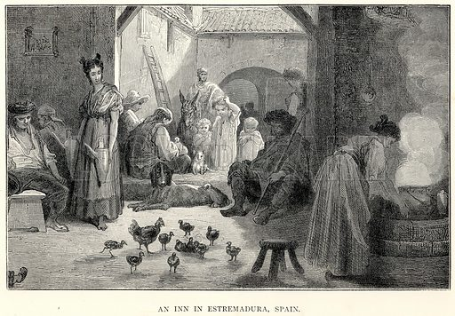 An Inn in Estremadura, Spain. Illustration for The World As It Is by George Chisholm (Blackie, 1885).