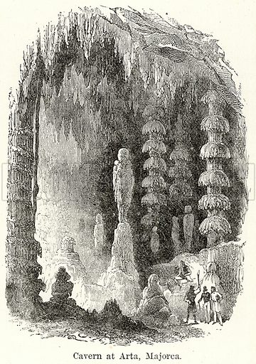 Cavern at Arta, Majorca. Illustration for The World As It Is by George Chisholm (Blackie, 1885).