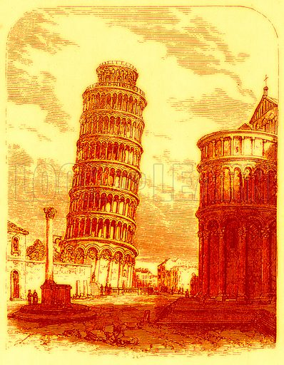 The Leaning Tower, and Apsis of the Cathedral, Pisa. Illustration for The World As It Is by George Chisholm (Blackie, 1885).