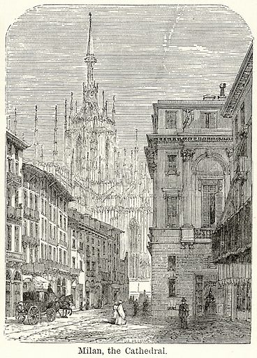Milan, the Cathedral. Illustration for The World As It Is by George Chisholm (Blackie, 1885).