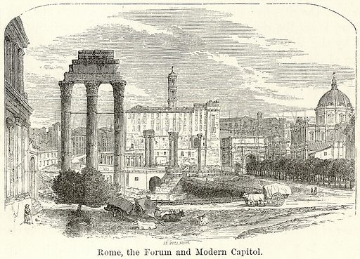 Rome, the Forum and Modern Capitol. Illustration for The World As It Is by George Chisholm (Blackie, 1885).