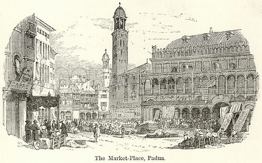 The Market-Place, Padua. Illustration for The World As It Is by George Chisholm (Blackie, 1885).