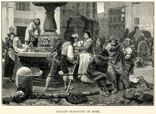 Italian Peasantry in Rome. Illustration for The World As It Is by George Chisholm (Blackie, 1885).