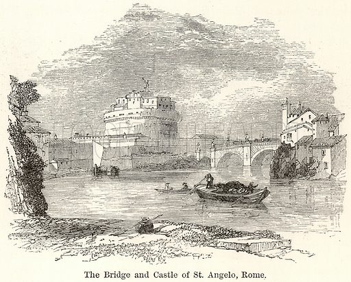 The Bridge and Castle of St Angelo, Rome. Illustration for The World As It Is by George Chisholm (Blackie, 1885).