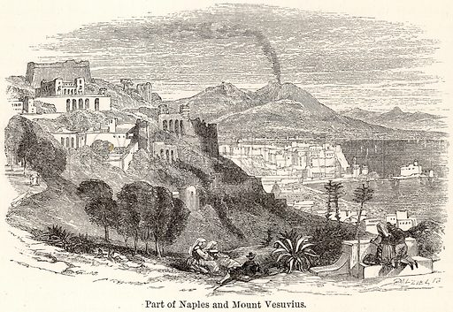Part of Naples and Mount Vesuvius. Illustration for The World As It Is by George Chisholm (Blackie, 1885).